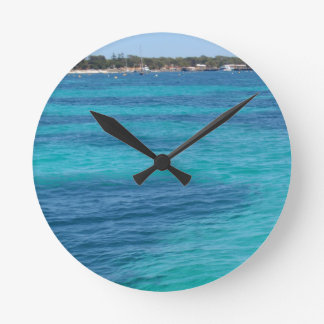 Beautiful Blue Beach Round Clock