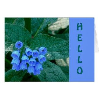 """Beautiful Blue Bell-Shaped Flowers, """"HELLO"""" CARD"""