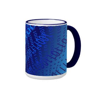 Beautiful Blue Binary Ringer Mug
