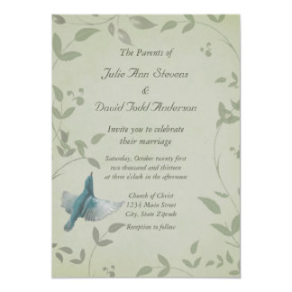 Beautiful Blue Bird Wedding 5x7 Paper Invitation Card