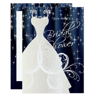 Beautiful Blue Bridal Shower with Sparkling Stars Card