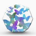 """Beautiful Blue Butterflies Acrylic Award<br><div class=""""desc"""">A bunch of lovely blue butterflies</div>"""