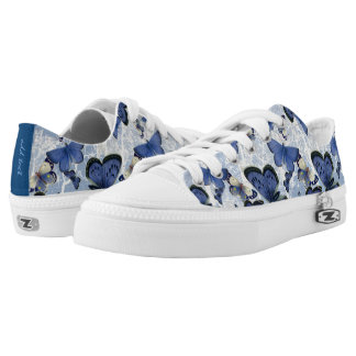 Beautiful Blue Butterflies (optional name on back) Printed Shoes