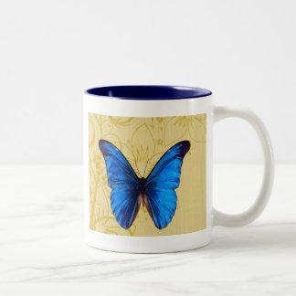 Beautiful Blue Butterfly Vintage art Two-Tone Coffee Mug