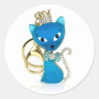 Beautiful blue cat design classic round sticker