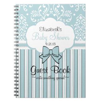 Beautiful Blue Damask Baby Shower Guest Book Spiral Notebook