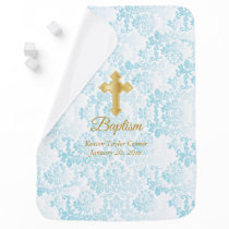 Beautiful Blue Damask Baptism Baby Blanket