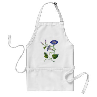 Beautiful Blue Embroidered Morning Glories Adult Apron