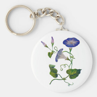 Beautiful Blue Embroidered Morning Glories Basic Round Button Keychain