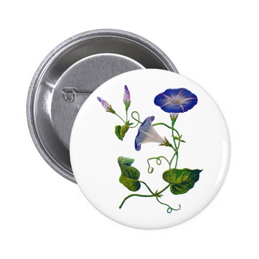 Beautiful Blue Embroidered Morning Glories Button