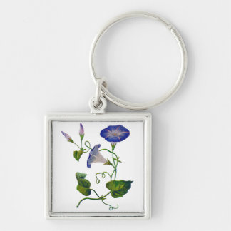 Beautiful Blue Embroidered Morning Glories Silver-Colored Square Keychain