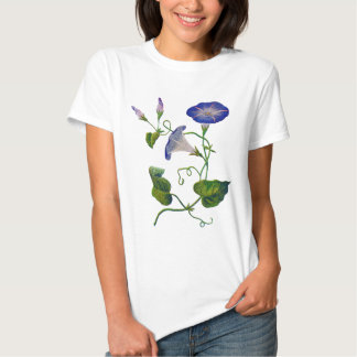 Beautiful Blue Embroidered Morning Glories Tee Shirt