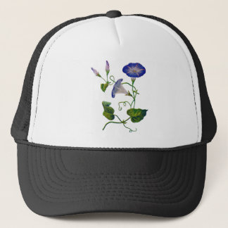 Beautiful Blue Embroidered Morning Glories Trucker Hat