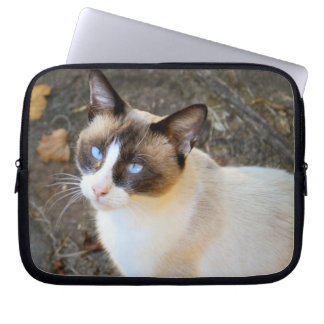Beautiful Blue-Eyed Cat Computer Sleeves