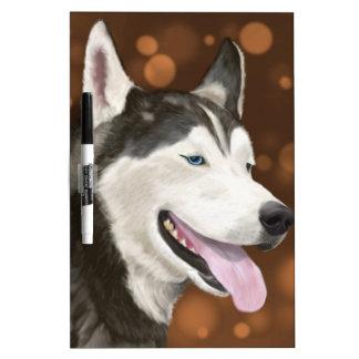 Beautiful Blue Eyed Husky, Brown Bokeh Background Dry-Erase Board