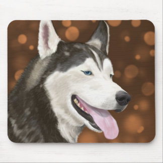 Beautiful Blue Eyed Husky, Brown Bokeh Background Mouse Pad