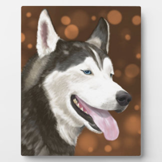 Beautiful Blue Eyed Husky, Brown Bokeh Background Plaque