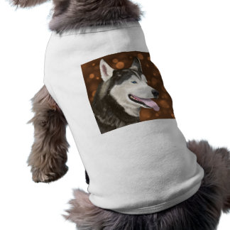 Beautiful Blue Eyed Husky, Brown Bokeh Background Shirt