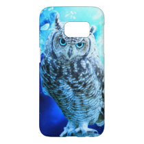 beautiful blue eyed owl samsung galaxy s7 case