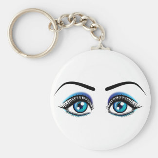 Beautiful blue eyes animation illustration keychain