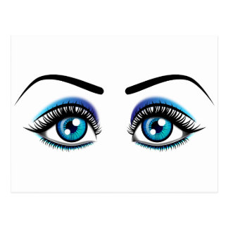 Beautiful blue eyes animation illustration postcard