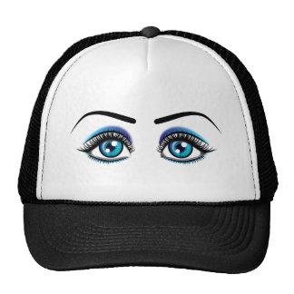 Beautiful blue eyes animation illustration trucker hat
