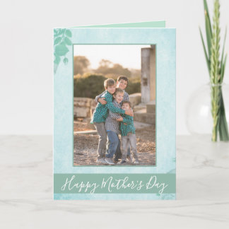 Beautiful Blue Floral Happy Mother's Day Photo Card