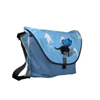 Beautiful blue floral kitty fairy messenger bag