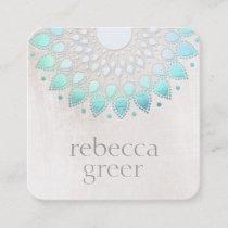 Beautiful Blue Floral Lotus Mandala White Marble Square Business Card