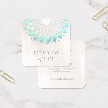 sm_business_cards Beautiful Blue Floral Lotus Mandala White Marble Square Business Card