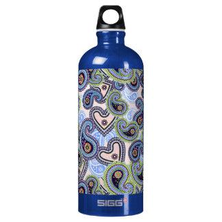 Beautiful Blue Floral Paisley Lace Aluminum Water Bottle