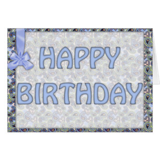 Beautiful Blue Floral Paisley Lace Card
