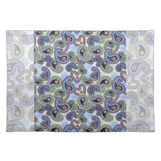 Beautiful Blue Floral Paisley Lace Placemat