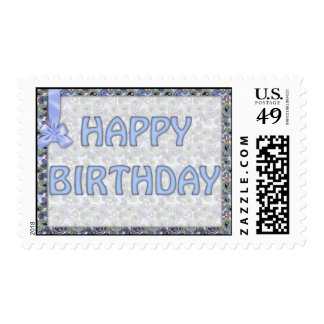 Beautiful Blue Floral Paisley Lace Postage Stamp