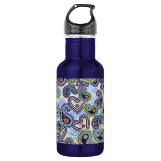 Beautiful Blue Floral Paisley Lace Water Bottle