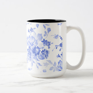 Beautiful Blue Floral Pattern for Mother's Day Two-Tone Coffee Mug