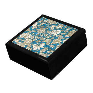 Beautiful blue floral textile pattern keepsake box