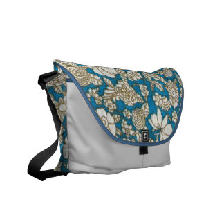 Beautiful blue floral textile pattern messenger bag