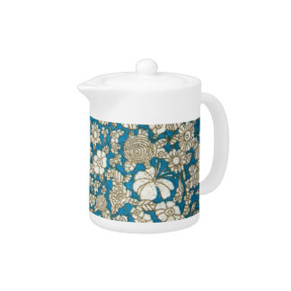 Beautiful blue floral textile pattern teapot