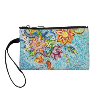 Beautiful Blue Flower Abstract Coin Clutch
