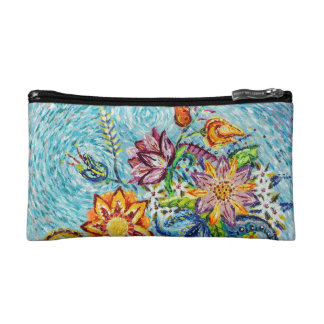 Beautiful Blue Flower Abstract Cosmetic Bag
