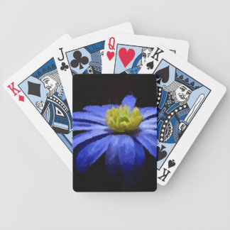 Beautiful Blue Flower Macro on Black Bicycle Playing Cards
