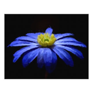 Beautiful Blue Flower Macro on Black Letterhead
