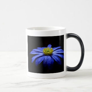 Beautiful Blue Flower Macro on Black Magic Mug