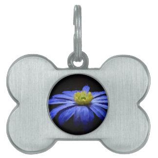 Beautiful Blue Flower Macro on Black Pet Tag