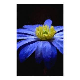 Beautiful Blue Flower Macro on Black Stationery