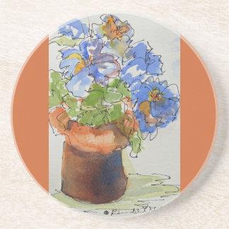 Beautiful Blue Flowers on Sandstone Coasters