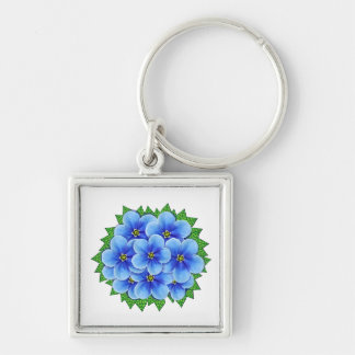 Beautiful Blue Forget-Me-Not Flowers Keychain