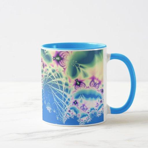 Beautiful blue fractal design mug zazzle for Blue mug designs