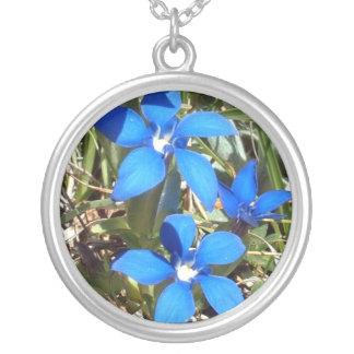 Beautiful Blue Gentian Alpine Flowers Necklaces